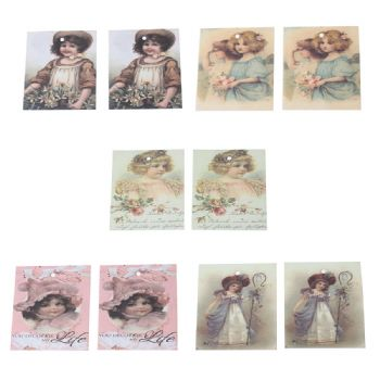 Pack of 10 mixed Vintage Style Gift Tags  Girl Pattern 7cm x 6cm